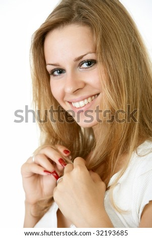 close up portrait of a young woman with a great smile - stock photo