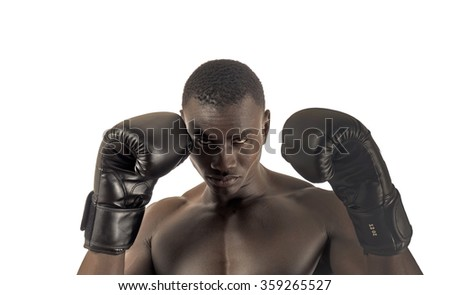 Close up portrait of african ethnicity boxer man. - stock photo