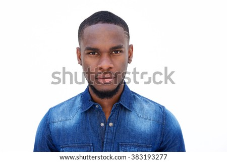 Close up portrait of an attractive young african american man on white background  - stock photo