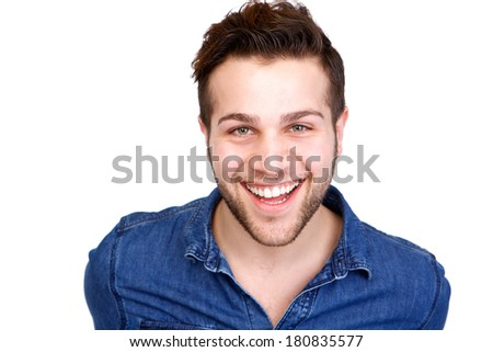 Close up portrait of an attractive young male smiling on isolated white background - stock photo