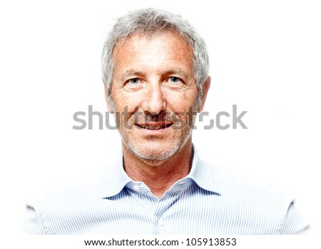 close up portrait of an elegant senior man blue eyed and with grey hair isolated on white background - stock photo
