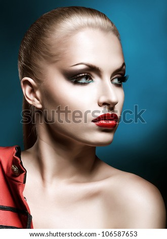 close-up portrait of beautiful blonde woman with red lips - stock photo