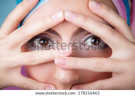 close up portrait of beautiful brunette young woman with healthy skin and french manicure - stock photo