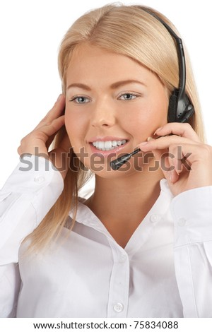 Close-up portrait of beautiful call center operator with headset. Isolated on white background - stock photo