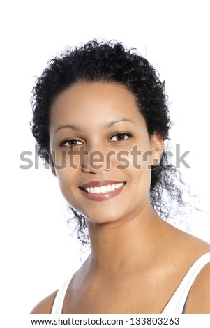 Close up portrait of beautiful dark skinned woman isolated on white - stock photo