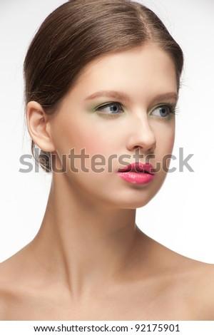 Close-up portrait of beautiful elegant woman with bright fashion make-up - stock photo