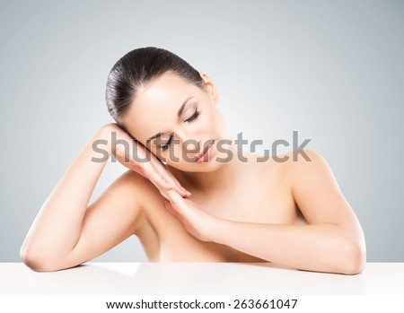 Close-up portrait of beautiful, fresh, healthy and sensual girl  - stock photo
