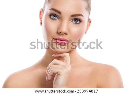 Close-up portrait of beautiful, fresh, healthy and sensual girl over white  background - stock photo