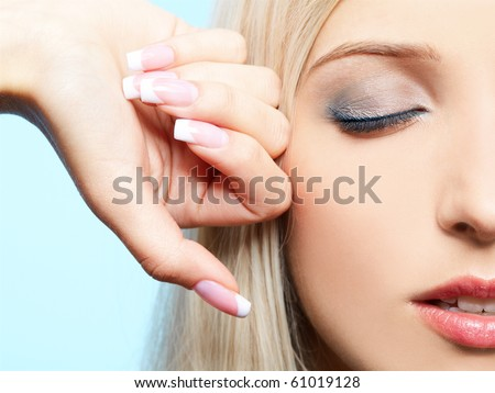 close-up portrait of beautiful girl's eye-zone make-up - stock photo