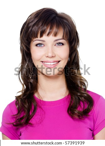 Close-up portrait of beautiful glamour girl with happy smile - isolated on white - stock photo