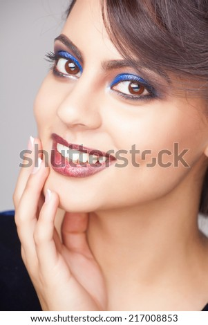 close up portrait of beautiful indian woman  - stock photo