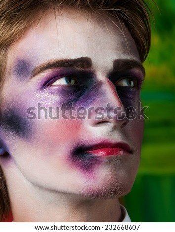 Close-up portrait of beautiful man with professional make-up Fashion Model Boy - stock photo