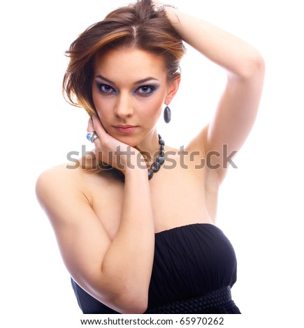 close-up portrait of beautiful model thinking of something - stock photo