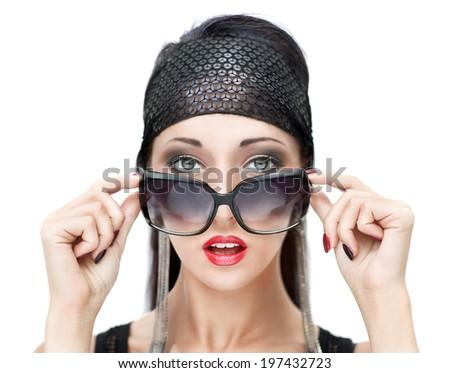 Close-up portrait of beautiful stylish woman with sunglasses  - stock photo