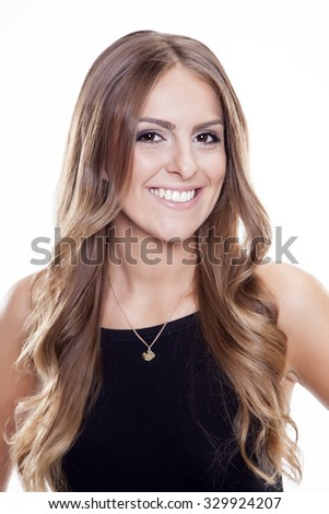 Close up portrait of beautiful young adult attractive sexy and sensuality happy smiling pretty brunette woman isolated on white background - stock photo