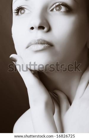 Close-up portrait of beautiful young fashion model - stock photo