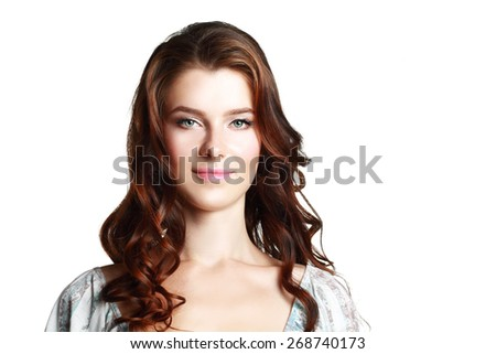 Close up portrait of beautiful young happy smiling woman - stock photo