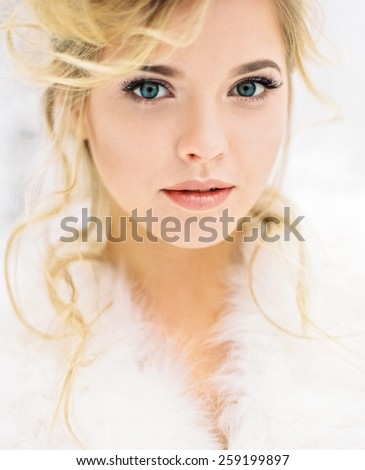 Close-up portrait of beautiful young woman - stock photo