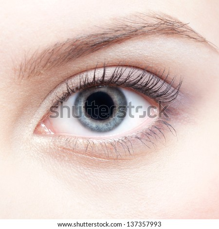 close-up portrait of beautiful young woman eye zone make-up - stock photo
