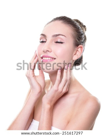 Close up portrait of beautiful young woman face and relax closed eye. Isolated on white background. Skin care or spa concept, caucasian - stock photo