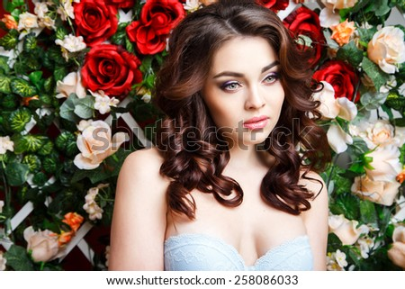 Close-up portrait of beautiful young woman with perfect make-up and hair-style - stock photo