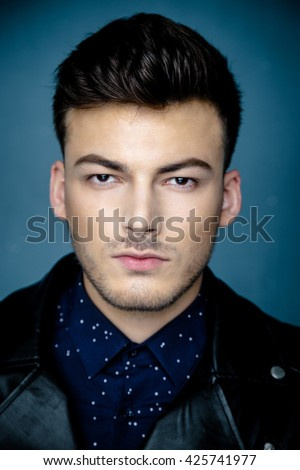 Close up portrait of Casual handsome attractive man hipster guy - stock photo