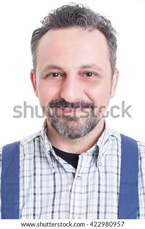Close-up portrait of cheerful mechanic standing and smiling at the camera isolated on white - stock photo