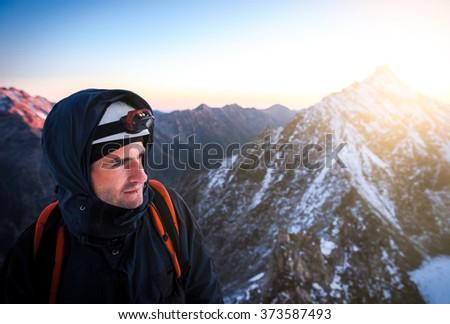 Close up portrait of climber - stock photo