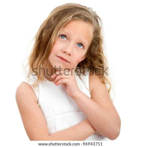 Close up Portrait of cute little girl with wondering face expression. Isolated on white background. - stock photo