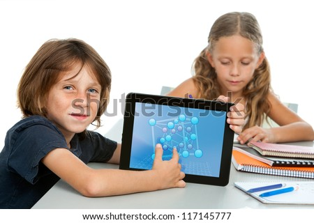 Close up portrait of cute maths student pointing at numbers on digital tablet. - stock photo