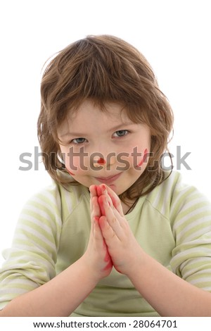 Close-up portrait of Fanny little girl with painted hands and face, isolated on white - stock photo