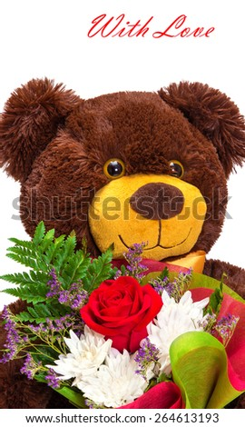 Close-up portrait of funny smiling teddy bear with a bouquet of flowers on white background. Cute greeting card - stock photo