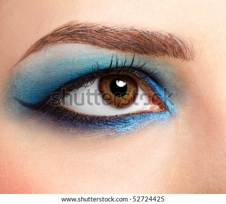 close-up portrait of girl's eye zone make-up - stock photo