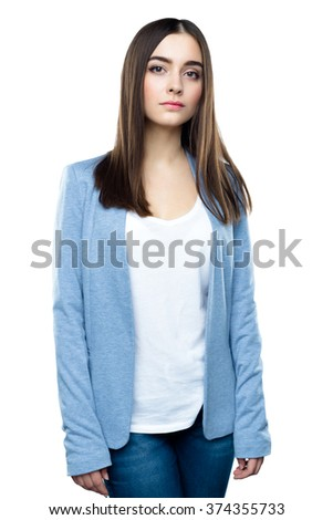 Close up portrait of Happy emotional young woman - stock photo