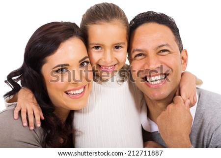 close up portrait of happy family  - stock photo