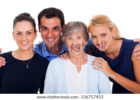 close up portrait of happy family over white background - stock photo