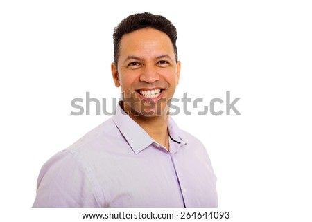 close up portrait of happy middle aged man - stock photo