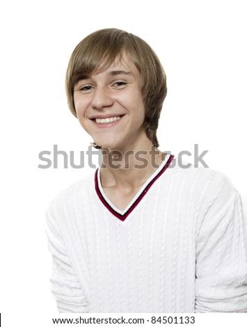 Close-up portrait of joyful smiling boy - stock photo