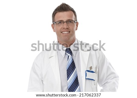 Close-up portrait of male doctor in lab coat and glasses, smiling happy. - stock photo