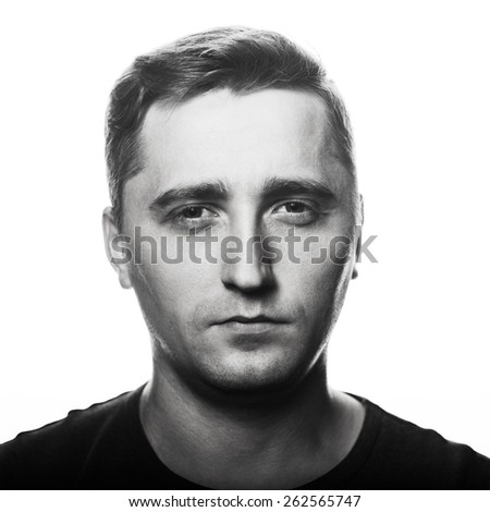 Close-up portrait of man's face - stock photo