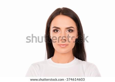Close up portrait of pretty calm girl in white T-shirt - stock photo