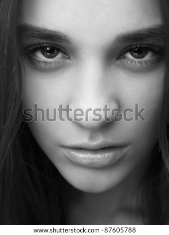 Close-up portrait of sexy caucasian young woman with glamour make-up. - stock photo
