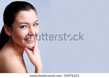 Close-up portrait of sexy caucasian young woman with perfect skin - stock photo