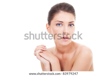 Close-up portrait of sexy  young woman on white background - stock photo
