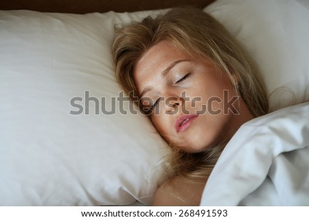 close up portrait of sleeping young  gorgeous  woman  - stock photo