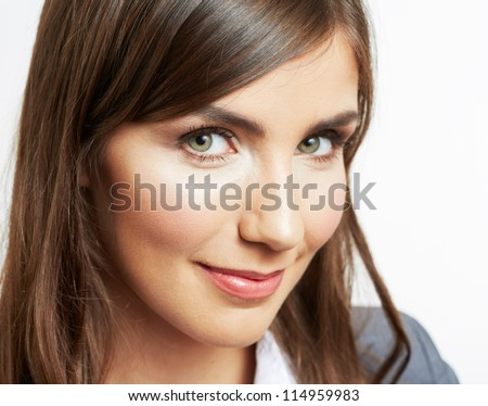 Close Up Portrait of smiling  business woman, isolated on white background - stock photo