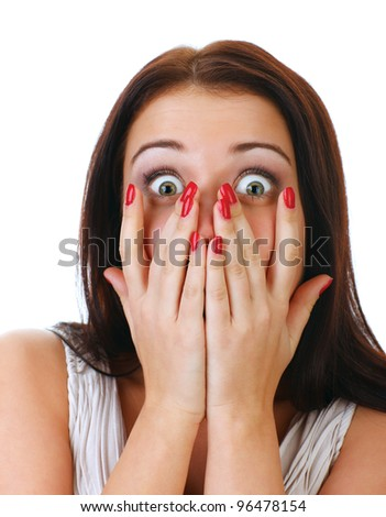 Close-up portrait of the scared woman, isolated on white. - stock photo
