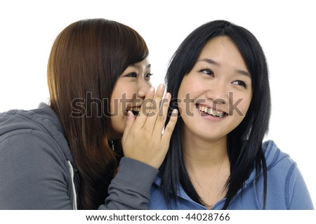 Close up portrait of two girlfriends - stock photo