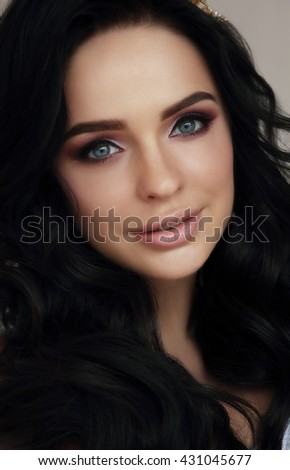 Close-up portrait of woman. Smile. - stock photo