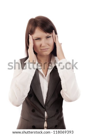Close up Portrait of woman with headache, isolated - stock photo
